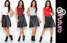 De Moda Para Mujer Vestido Eco Cuero Arco cremallera Cuello Redondo Sin Mangas Talle 8-12 8300