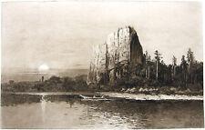 GIANT CASTLE BEACON ROCK COLUMBIA RIVER Lewis & Clark ~ 1888 Landscape Art Print