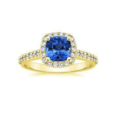 Cushion Natural 2.00 Ct Diamond Blue Sapphire Ring 14K Yellow Gold Gemstone 142