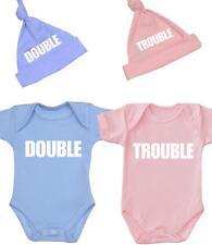 BabyPrem TWINS Baby Clothes Funny Double Trouble Bodysuit & Hats Sets Prem - 12m