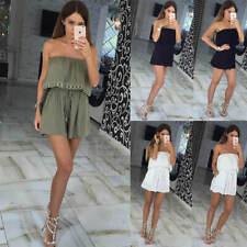 Femmes Bardot Volant Bodys Top Combinaison Dos Nu Bodysuit Jumpsuit Short