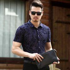 Men Business Dress Shirt Velvet Tops Button Hollow Transparent Jacquard Slim Fit