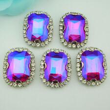 Diamond rim Rectangle Glitter Rhinestones Crystal Glass Sew on Strass 20pcs