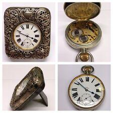 Antike Tischuhr Gehäuse Sterlingsilber Silberuhr Taschenuhr Uhr