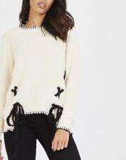 Women Ladies Winter Shoelace Knot Detailed Long Sleeve Knitted Jumper Knitwear