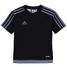 Bambini Adidas 3 Stripe Estro T-shirt Junior Ragazzi A Maniche Corte Età 7-13 Nero/Grigio
