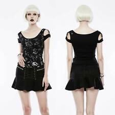 PUNK RAVE Black Denim Volant-Mini-Rock mit Schnürung Gothic Mini Valance Skirt
