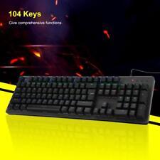 Ergonomic USB Wired RGB LED Backlit Mechanical Gaming Keyboard w/ Blue Switch TP
