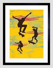 Monopatín Retro Marco Negro Amarillo montaje de imagen de impresión arte enmarcado B12X9038