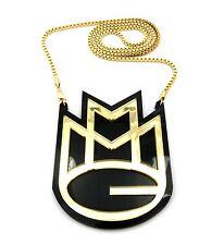 "Gold & Black MMG Maybach Music Group Acrylic Plastic Charm Pendant 30"" Box Chain"
