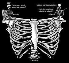 New listing Funny Angel Vs Devil Why Women Fake Orgasms Skeleton Rib Cage Skull T-Shirt Sk81