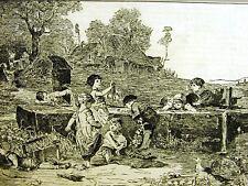 Children WASHING CLOTHES BOY & GIRLS 1884 Antique Engraving Art Print Matted