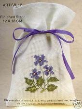 Counted cross-stitch Potpourri Bag kit – Violets