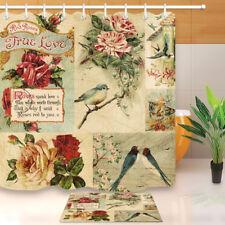 Vintage Rose Postcard Shower Curtain Set Waterproof Fabric Decor Curtains& Hooks