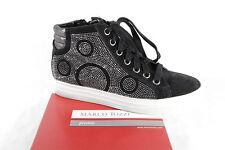 Marco Tozzi botas botas botines botas de cordón cuero negro NUEVO