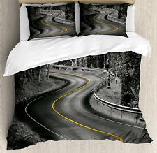 Black and White Duvet Cover Set with Pillow Shams Asphalt Road Print