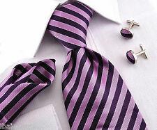 Cravate en soie rayée noir / violet  NEUVE + boutons de manchette + pochette