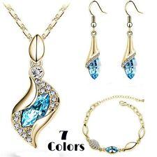 7 Color Gold Plated Crystal Rhinestone Necklace Pendant Earrings Bracelet Set