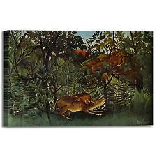 Rousseau antilope e leone design quadro stampa tela dipinto telaio arredo casa
