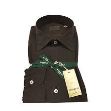 BORRIELLO NAPOLI men's shirts dark brown microdisegno 100% cotone MADE IN ITALY