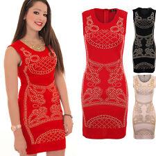 Ladies Celeb Inspired Sleeveless Studded Paisley Stretch Short Bodycon Dress