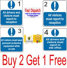 Tutti i visitatori Driver rapporto accoglienza Sicurezza del sito obbligatorio segni ADESIVI 200 mm