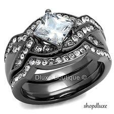 Steel Wedding Ring Set Women'S Size 5-10 2.50 Ct Princess Cut Cz Black Stainless