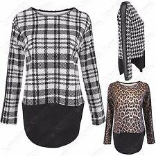 Ladies Animal Leopard or Check Print Shaped Hem Tops Long Black Mesh Sleeve