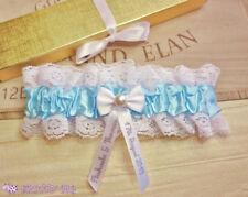 Personalised Wedding Garter Something Blue Handmade Lingerie Bride Pearl Gift