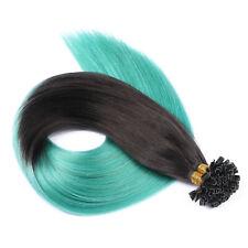 Keratin Bonding (#1b/Sky Ombre) Hair Extensions Remy Echthaar Haarverlängerung