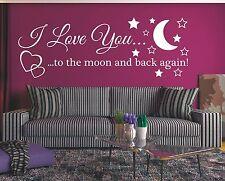 X1313 Wandtattoo Spruch - I Love You to the moon Wandsticker Wandaufkleber Liebe