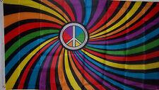 NEW 3ftx5 RAINBOW SWIRL PEACE BANNER DECORATION STORE FLAG