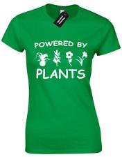 POWERED BY PLANTS LADIES T SHIRT VEGAN VEGETARIAN HIPSTER FASHION FOOD SLOGAN