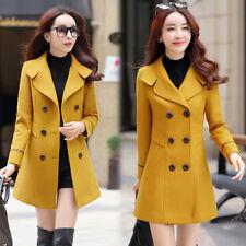 Women Long Sleeve Wool Blend Coat Trench Jacket Slim Outwear Top Fall Fashion