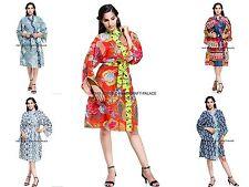 Women's 100% Cotton Kimono Robe Indian Bath Robes Dressing Gown Intimates Wear