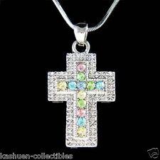 w Swarovski Crystal ~Pastel Cross~~ Jesus God Religious Jewelry Pendant Necklace