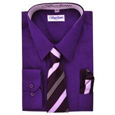 Berlioni Italy Kids Boys Italian Long Sleeve Dress Shirt With Tie & Hanky Purple