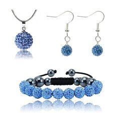 Shamballa Earring Bracelet Necklace SET Crystal Disco Ball Crystal Ball Gem UK