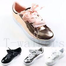 Mujeres Señoras Con Cordones Tacón Bajo Mocasines Entrenadores Patente PU Zapatillas De Tenis Zapatos De Salón Talla