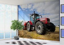 rot Traktor im Feld TAPETEN WANDBILD KUNST FOTO (10985815) Bauernhof