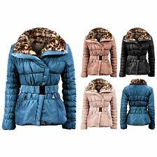 Onorevoli BELTED Imbottito Trapuntato Wide Colletto Pelliccia Leopardata da Donna Inverno Giacca 10-16