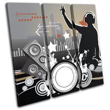 Abstract Vinyl Illustration Decks DJ Club TREBLE CANVAS WALL ART Picture Print