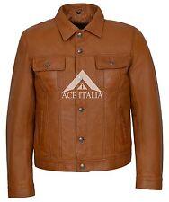 Mens Trucker Jacket Tan American Western Genuine Lambskin Leather Jacket 1280