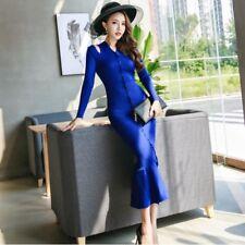 Elegante vestito abito blu lungo slim scollo tubino maniche lunghe 3919 8346bb6d4d7