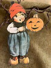 Vintage Repro Dutch Boy JOL Pumpkin Halloween Cardstock Decoration,U Choose Size