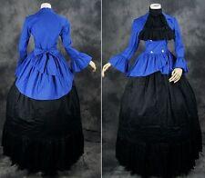v-16 Negro Azul Victoriano GOTHIC CIVIL GUERRA Vestido Traje
