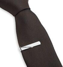 Hommes 3CM Argent Pince À Cravate Fin Acier Inoxydable Clip Mariage