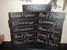 Wood Signs Grandparents & Nana Papaw's Grandma's Country Prim Rustic Home Decor