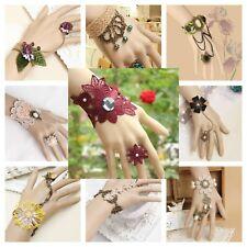 Bracelet Ring Handmade Lace Jewelry Fashion Wrap Victorian Goth Punk Adjustable