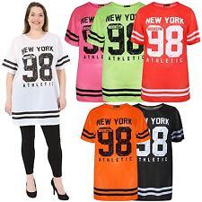 Ladies Neon Colour Air Tech Summer Stripe Newyork 98 Number Baggy T-Shirts 8-26